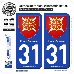2 Autocollants plaque immatriculation Auto 31 Haute-Garonne - Armoiries