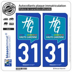2 Autocollants plaque immatriculation Auto 31 Haute-Garonne - Département