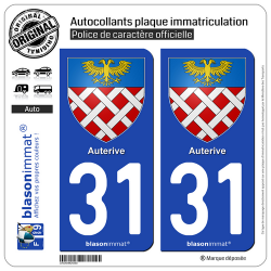 2 Autocollants plaque immatriculation Auto 31 Auterive - Armoiries