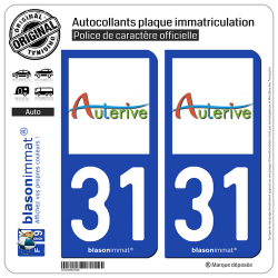 2 Autocollants plaque immatriculation Auto 31 Auterive - Ville