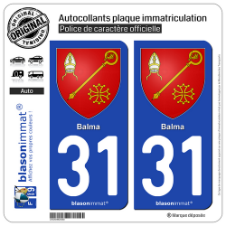2 Autocollants plaque immatriculation Auto 31 Balma - Armoiries