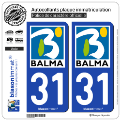 2 Autocollants plaque immatriculation Auto 31 Balma - Ville
