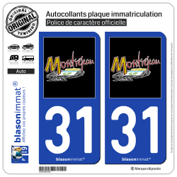 2 Autocollants plaque immatriculation Auto 31 Montréjeau - Commune
