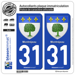 2 Autocollants plaque immatriculation Auto 31 Montréjeau - Armoiries