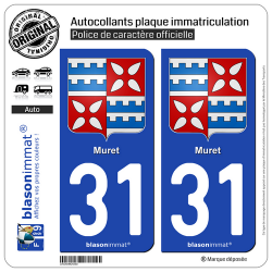 2 Autocollants plaque immatriculation Auto 31 Muret - Armoiries