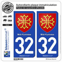 2 Autocollants plaque immatriculation Auto 32 Midi-Pyrénées - Armoiries