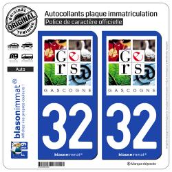 2 Autocollants plaque immatriculation Auto 32 Gers - Département