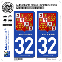 2 Autocollants plaque immatriculation Auto 32 L'Isle-Jourdain - Armoiries