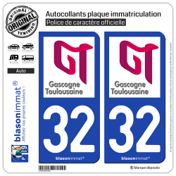 2 Autocollants plaque immatriculation Auto 32 L'Isle-Jourdain - Agglo
