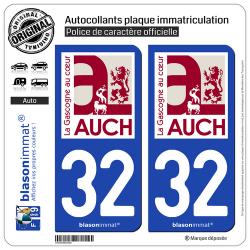 2 Autocollants plaque immatriculation Auto 32 Auch - Ville