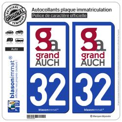 2 Autocollants plaque immatriculation Auto 32 Auch - Agglo