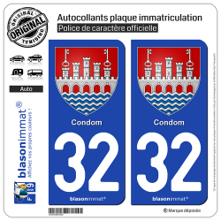 2 Autocollants plaque immatriculation Auto 32 Condom - Armoiries