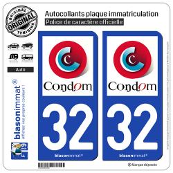 2 Autocollants plaque immatriculation Auto 32 Condom - Ville