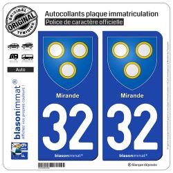 2 Autocollants plaque immatriculation Auto 32 Mirande - Armoiries