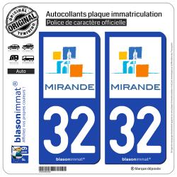 2 Autocollants plaque immatriculation Auto 32 Mirande - Ville