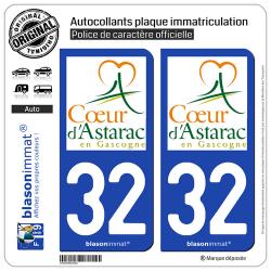 2 Autocollants plaque immatriculation Auto 32 Mirande - Agglo