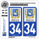 2 Autocollants plaque immatriculation Auto 34 Mèze - Ville
