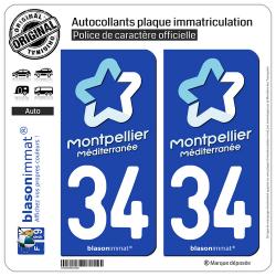2 Autocollants plaque immatriculation Auto 34 Montpellier - Tourisme