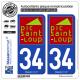 2 Autocollants plaque immatriculation Auto 34 Pic Saint Loup - Pays