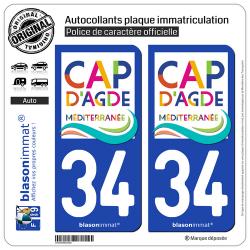2 Autocollants plaque immatriculation Auto 34 Agde - Le Cap