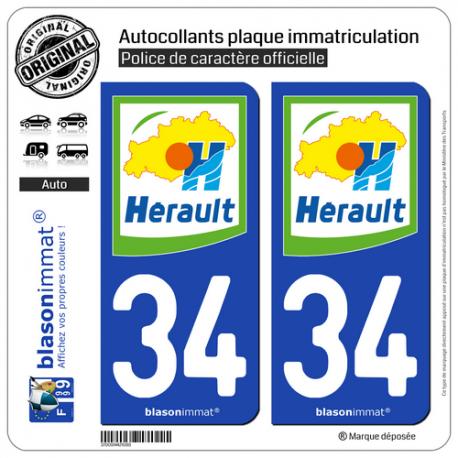 2 Autocollants plaque immatriculation Auto 34 Hérault - Département