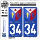 2 Autocollants plaque immatriculation Auto 34 Balaruc-les-Bains - Armoiries