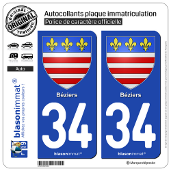 2 Autocollants plaque immatriculation Auto 34 Béziers - Armoiries