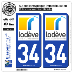 2 Autocollants plaque immatriculation Auto 34 Lodève - Ville