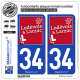 2 Autocollants plaque immatriculation Auto 34 Lodève - Agglo