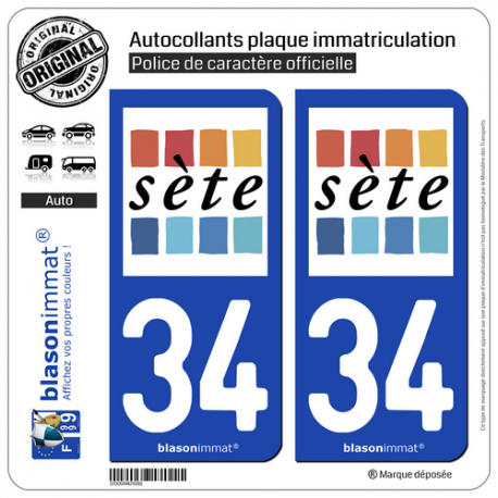 2 Autocollants plaque immatriculation Auto 34 Sète - Ville