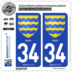 2 Autocollants plaque immatriculation Auto 34 Agde - Armoiries