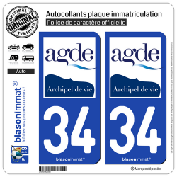 2 Autocollants plaque immatriculation Auto 34 Agde - Commune