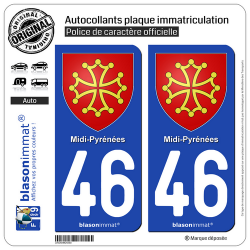 2 Autocollants plaque immatriculation Auto 46 Midi-Pyrénées - Armoiries