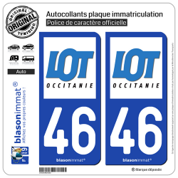 2 Autocollants plaque immatriculation Auto 46 Lot - Département