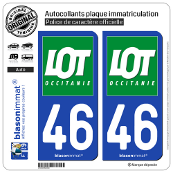 2 Autocollants plaque immatriculation Auto 46 Lot - Département II