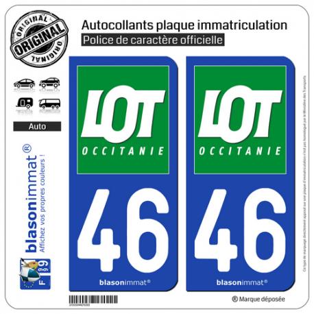 Automobilia 46 Lot Departement Immatriculation 2 X Autocollants Sticker Easy To Use Auto, Moto – Pièces, Accessoires