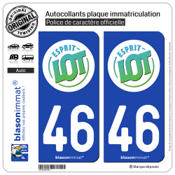 2 Autocollants plaque immatriculation Auto 46 Lot - Tourisme