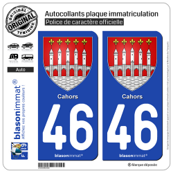2 Autocollants plaque immatriculation Auto 46 Cahors - Armoiries