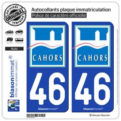 2 Autocollants plaque immatriculation Auto 46 Cahors - Ville