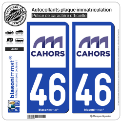 2 Autocollants plaque immatriculation Auto 46 Cahors - Agglo