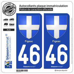 2 Autocollants plaque immatriculation Auto 46 Figeac - Armoiries