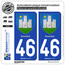 2 Autocollants plaque immatriculation Auto 46 Gourdon - Armoiries II