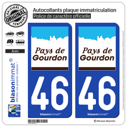 2 Autocollants plaque immatriculation Auto 46 Gourdon - Pays