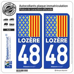 2 Autocollants plaque immatriculation Auto 48 Lozère - Drapeau Ajusté