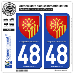 2 Autocollants plaque immatriculation Auto 48 Languedoc-Roussillon - Armoiries