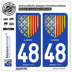 2 Autocollants plaque immatriculation Auto 48 Lozère - Armoiries