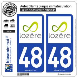 2 Autocollants plaque immatriculation Auto 48 Lozère - Département