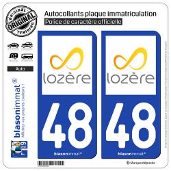 2 Autocollants plaque immatriculation Auto 48 Lozère - Tourisme