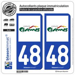 2 Autocollants plaque immatriculation Auto 48 Cévennes - Pays
