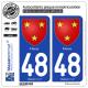 2 Autocollants plaque immatriculation Auto 48 Florac - Armoiries